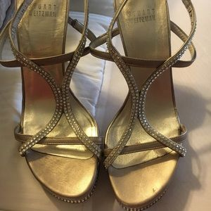 Stuart Weitzman Rhinestone Sandal Heels